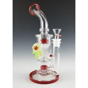 Green Slyme Eye Ball, 8 Arm Per, Barrel Percolator Bong